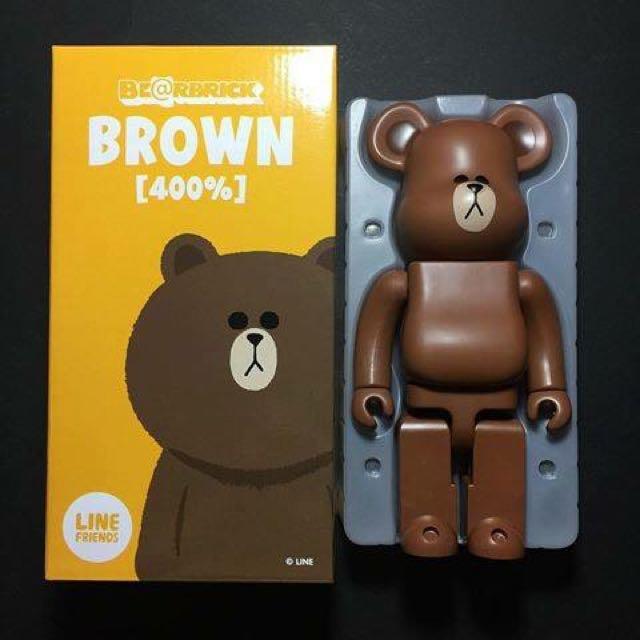 Line Friends Brown Medicom Bearbrick 400% + 100% Set New In Box