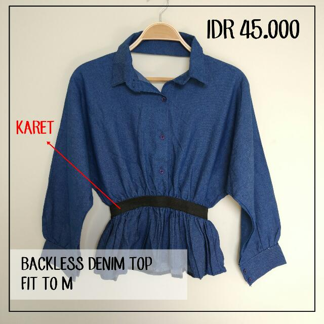 Low Back Denim Shirt Fit To M