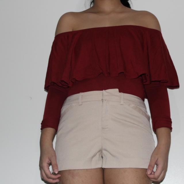 Maroon Bershka Off Shoulder Top