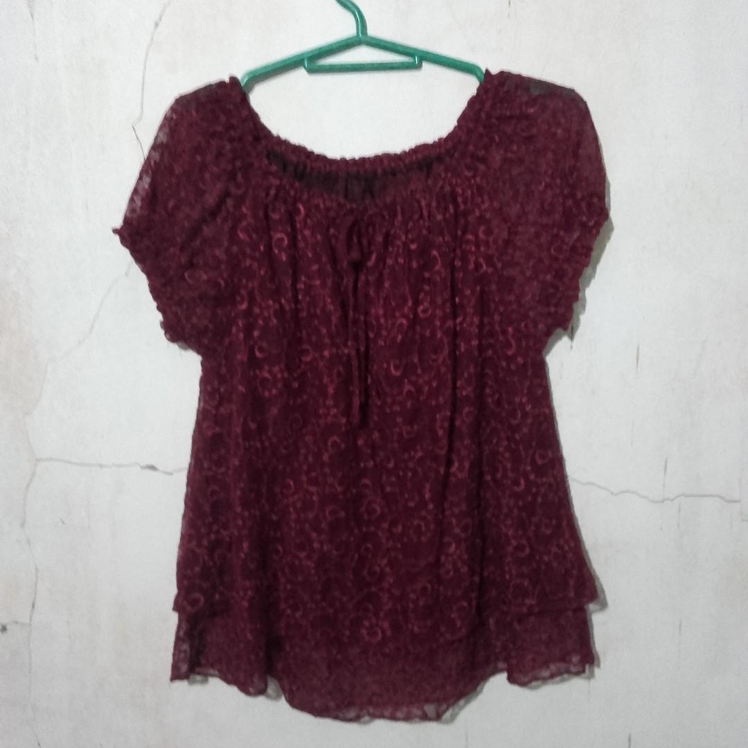 Maroon off-shoulder blouse