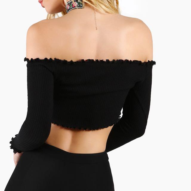 Off Should Long Sleeve Bardot Top