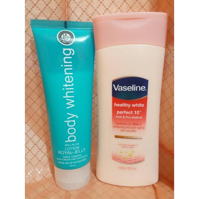 Paket Body Lotion (Bali Alus Body Whitening 130 ml & Vaseline Perfect 10 200 ml)