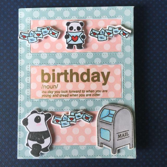 Panda Sending Love Birthday Card Design Craft Others On Carousell