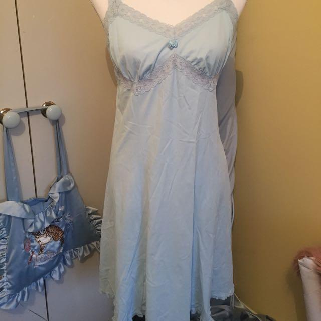 Pastel Baby Blue Lace Vintage 40s Slip Dress