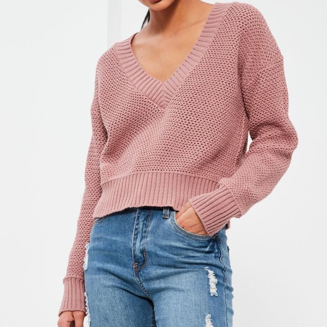 PINK CROPPED CRICKET JUMPER / MISSGUIDED