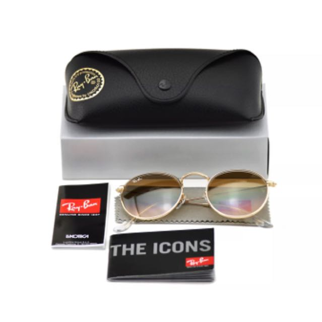 Ray Ban Round Metal RB 3447 001/51 Gold Frame Gradient Lens Sunglasses