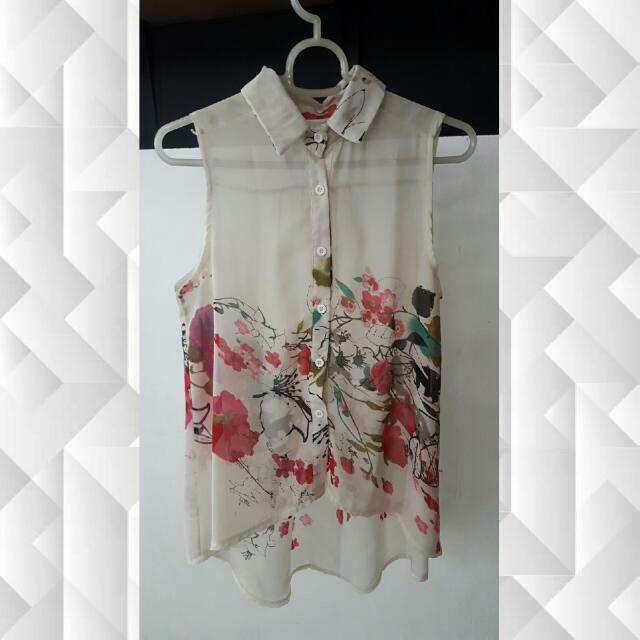 Sheer Japanese Floral Top