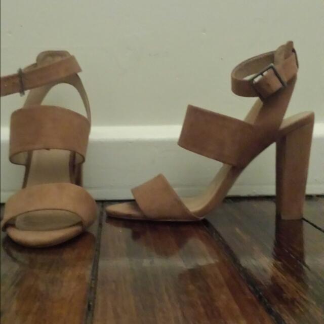Sportsgirl Nude Suede Heels - Size 7