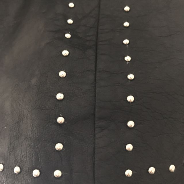 Steele Bobbi Studded Leather Skirt Small