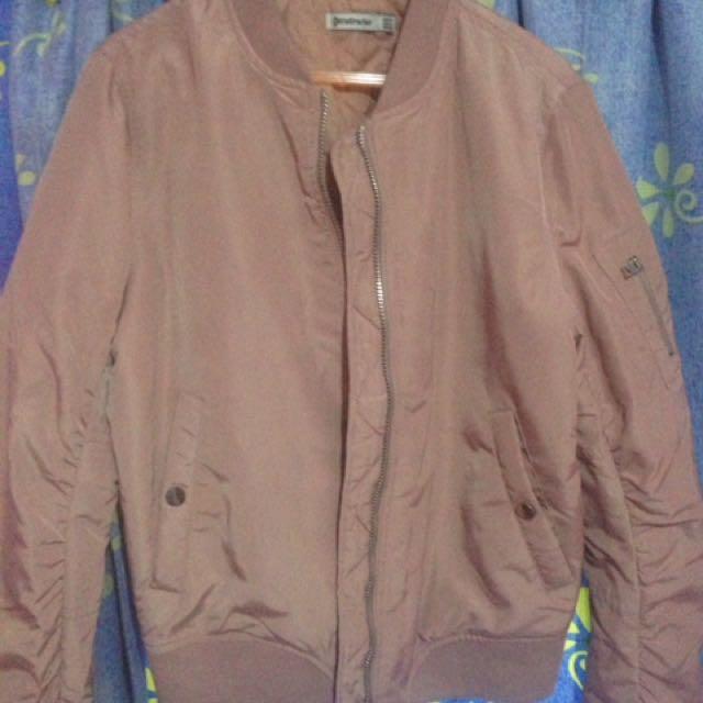 stradivarius bomber jacket in pale pink