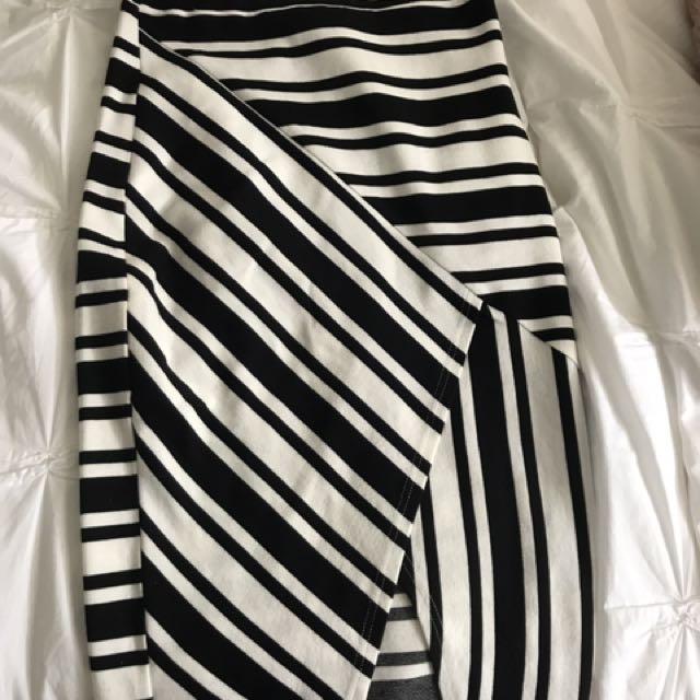 Stripped Black & White Skirt With Slit