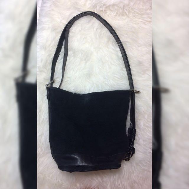 Suede Black Bucket Bag