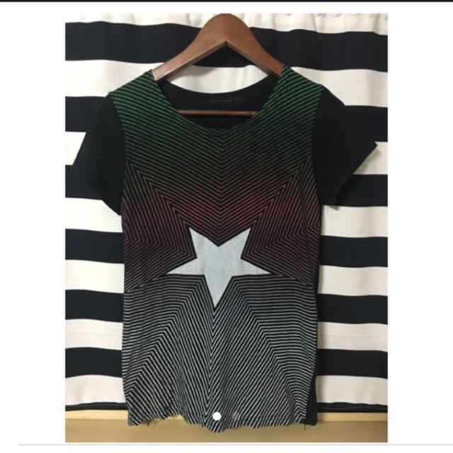 條文漸層星星T-Shirt