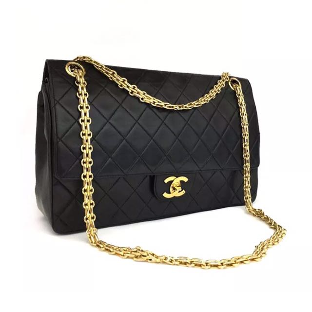 """Reduced"" Vintage CHANEL Black Double Flap Quilted Cc Logo Bag"