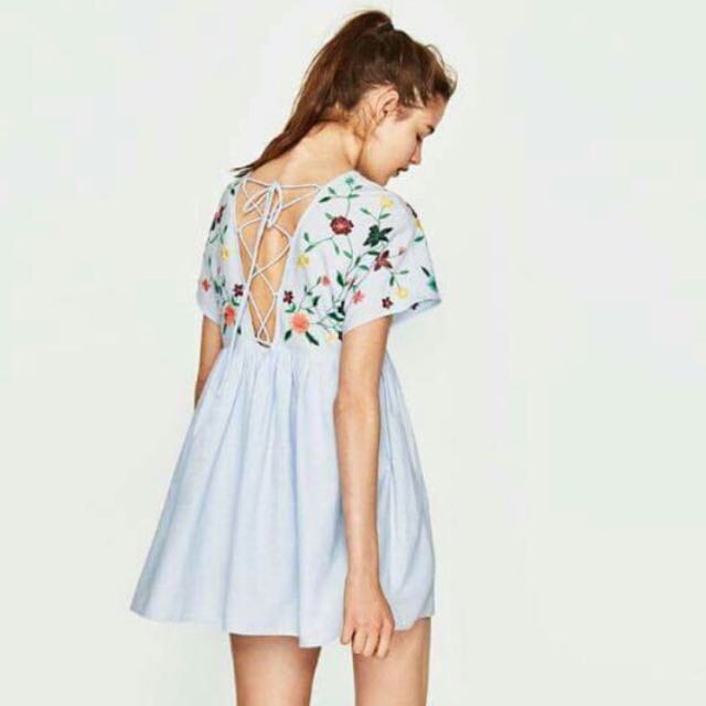 58e002833c2 Zara Embroidered Babydoll Jumpsuit Dress