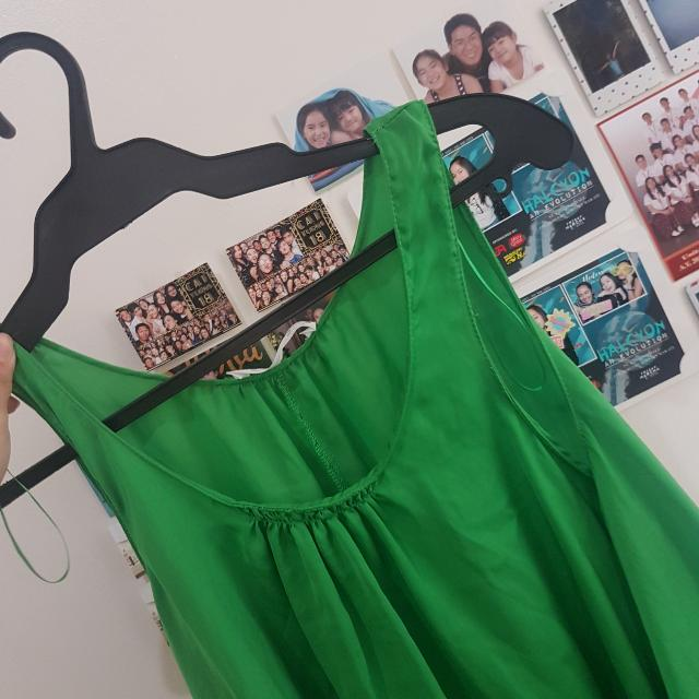 Zara W&B Collection Green Hanging Top