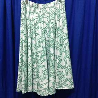 Midi Skater Skirt White Green Pattern