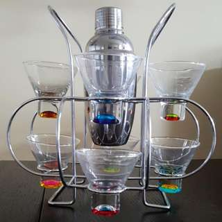 Martini Glassware Set (8) With S/S Shaker