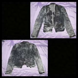 Acid washed dark denim jacket