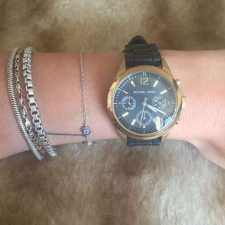 Michael Kors Black & Gold Rubber Band Watch