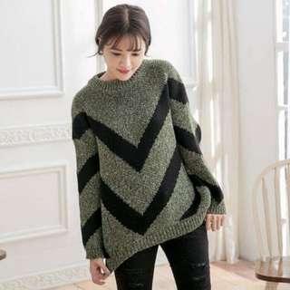 🚚 【免運費】寬鬆V型紋圓領毛衣-(綠)