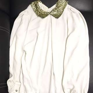 Long Sleeves Top W/ Sequined Collar