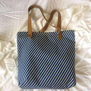 Blue Stripe Canvas Bag