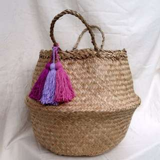 BRAND NEW Collapsible Soft Herringbone Seagrass Storage Basket With Tassels