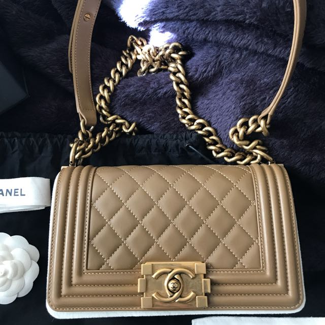4ddb0aebcd3b 100% Authentic Chanel Le Boy Small in Caramel Beige colour, Luxury, Bags &  Wallets on Carousell