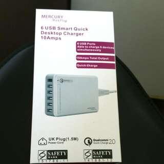 Price Lowered, Mercury 6 USB Smart Quick Desktop Charger