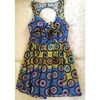 Vintage Backless Tie Up Summer Dress