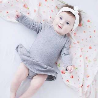 🌟INSTOCK🌟 Grey Long Sleeves Kids PJ onesie Baby Romper Flare Dress for girls