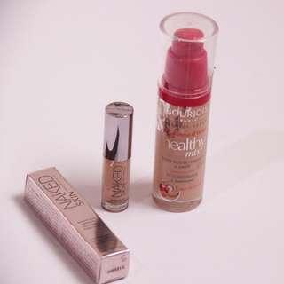BASE MAKE UP SET: Bourjois Healthy Mix foundie shade 53 & MINI SIZE Urban Decay Naked Skin Concealer shade Medium Light Neutral