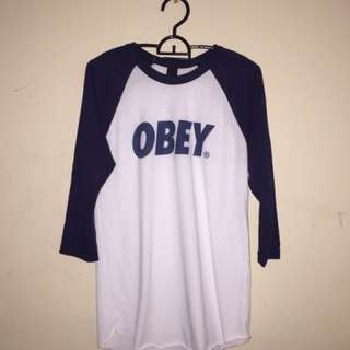 Navy Blue Obey Baseball Tee