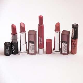 Lipstick Set NYX, Maybelline, & Revlon