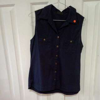 Jeanswest Blue Collared Singlet Size 8
