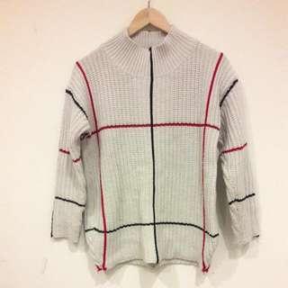 韓紅黑條紋針織毛衣