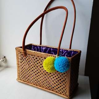 Rattan Handbag W Blu Green Pompom