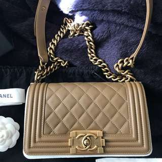 100% Authentic Chanel Le Boy Small in Caramel Beige colour