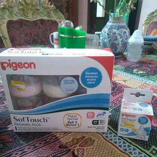 Pigeon Softouch Peristaltic Plus 0+ Wide Neck Free BPA Dan BPS (paket Special)