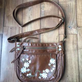 Vintage Brown Leather Sling Bag