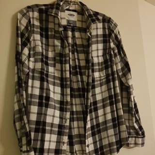 Old Navy Black And White Plaid Shirt