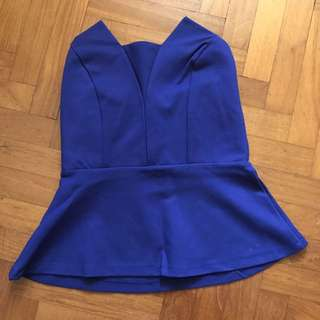 Peplum Bustier Top in Blue