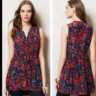 Anthropologie Wonderland print silk tunic tank