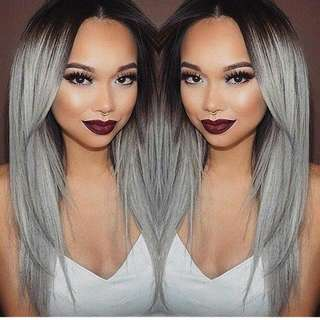 Ombre Black Gray Wig