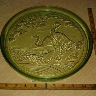 中古懷舊~綠玻璃茶盤/托盤