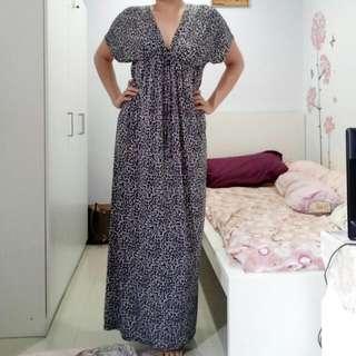 Chic Simple Leopard Print Maxi Dress