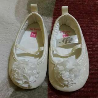 Carter White Doll Shoes