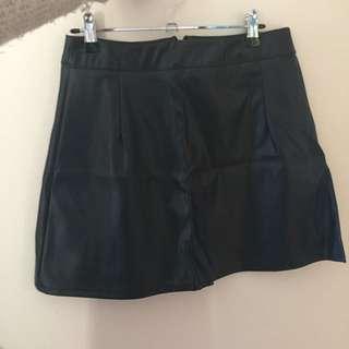 Boohoo Black A-line Faux Leather Skirt