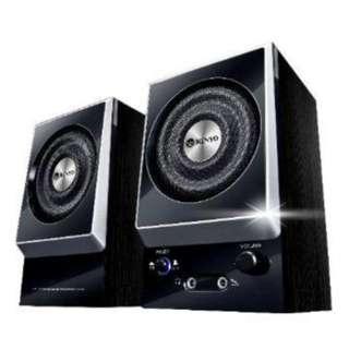 KINYO兩件式木質擴大音箱/特級全木質打造/高光面處理/耳機/麥克風插孔